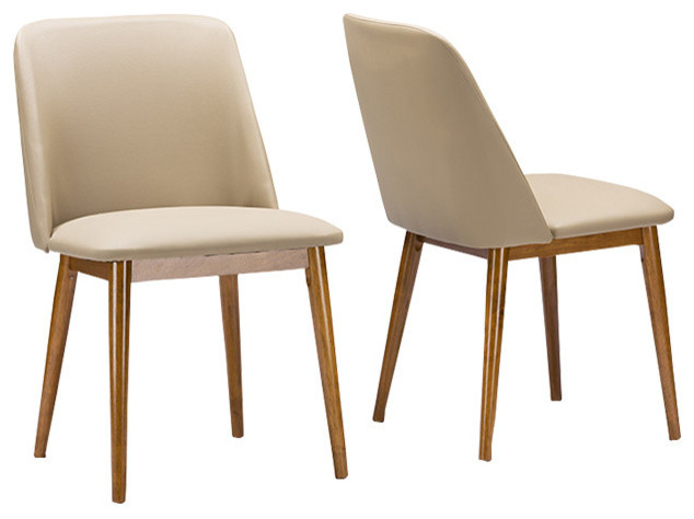 Lovable Faux Leather Dining Chairs Lavin Mid Century Walnut Light Brownbeige Faux Leather Dining