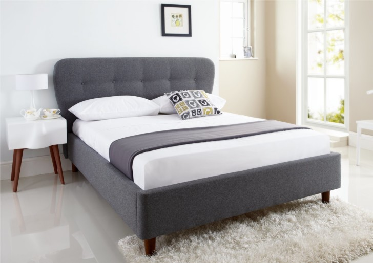 Lovable Full Size Upholstered Bed Frame Light Brown Linen Fabric Upholstered Bed With Headboard And Brown