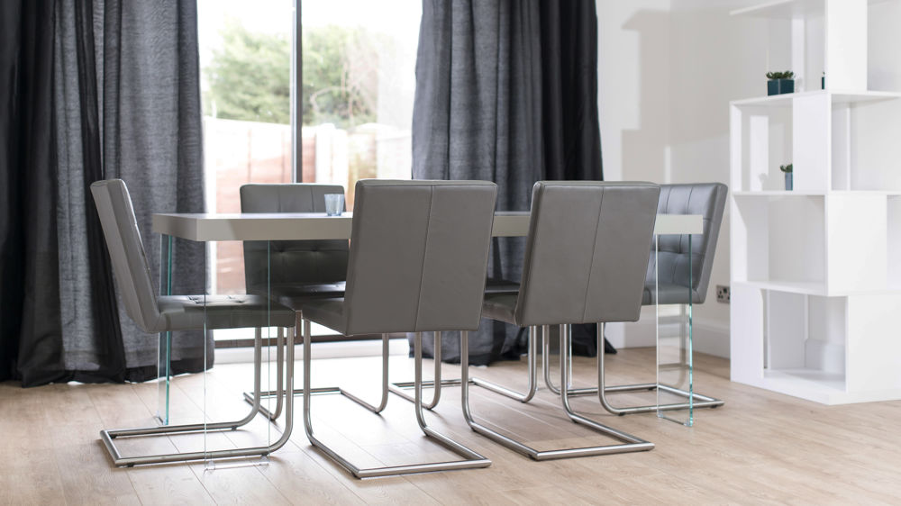 Lovable Gray Dining Chairs Real Leather Designer Dining Chair Grey White And Black Uk