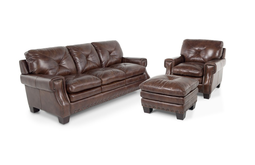 Lovable Leather Chair And Ottoman Lawrence Leather Sofa Chair Ottoman Bobs Discount Furniture