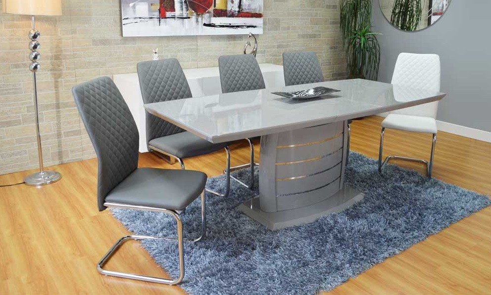 Lovable Modern Rectangular Dining Table Donatella Gray Extendable Modern Rectangular Dining Table