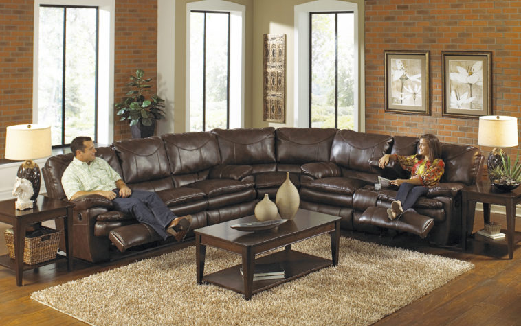 Lovable Oversized Leather Sectional With Chaise Furniture Large Leather Sectional Recliner Couch In Dark Brown