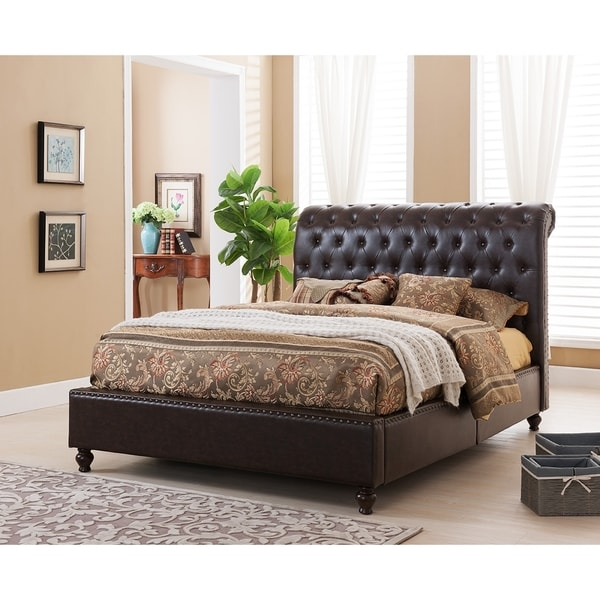 Lovable Platform Bed With Upholstered Headboard Norman Tufted Modern Platform Bed With Upholstered Headboard