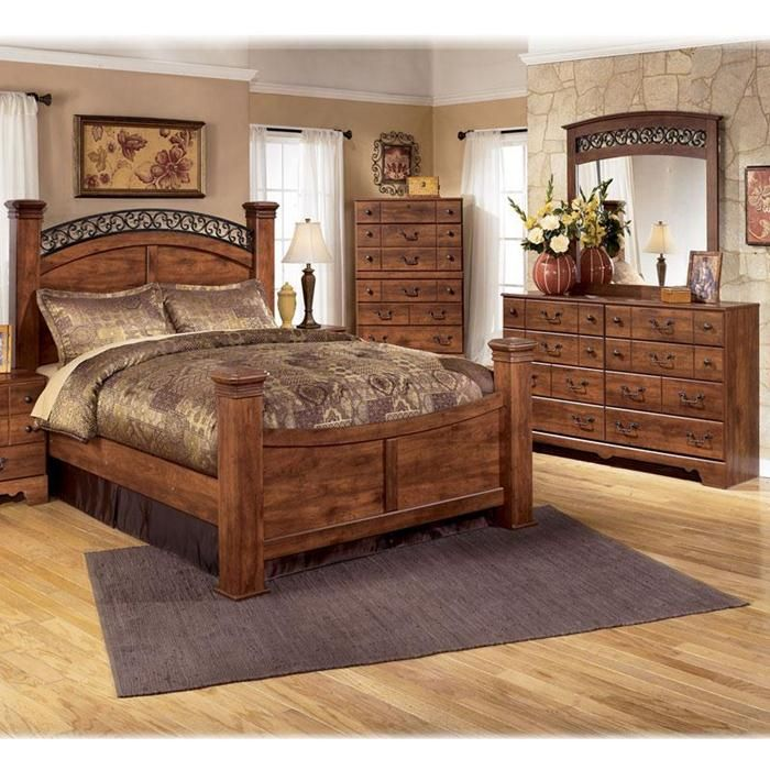 Lovable Queen Bedroom Set With Armoire 4 Piece Queen Bedroom Set In Brown Cherry Nebraska Furniture