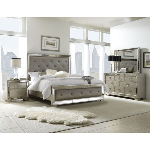 Lovable Queen Size Bed Sets Celine 5 Piece Mirrored And Upholstered Tufted Queen Size Bedroom