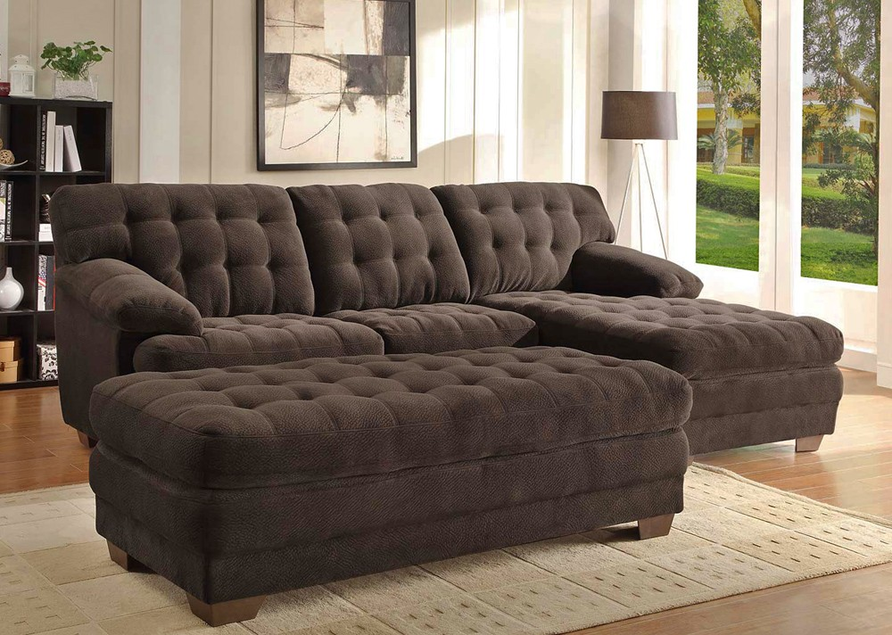 Lovable Sectional Sofa With Ottoman Chocolate Microfiber Sectional Sofa