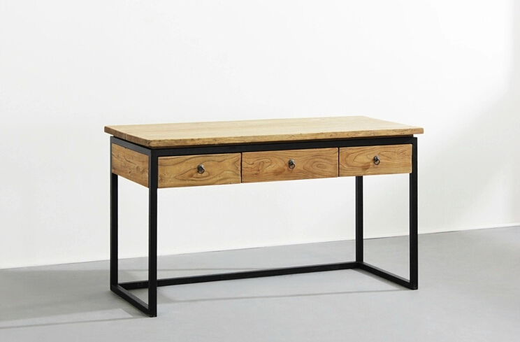 Lovable Simple Work Desk Simple And Modern Wood Desk With Drawers Computer Desk Iron Retro
