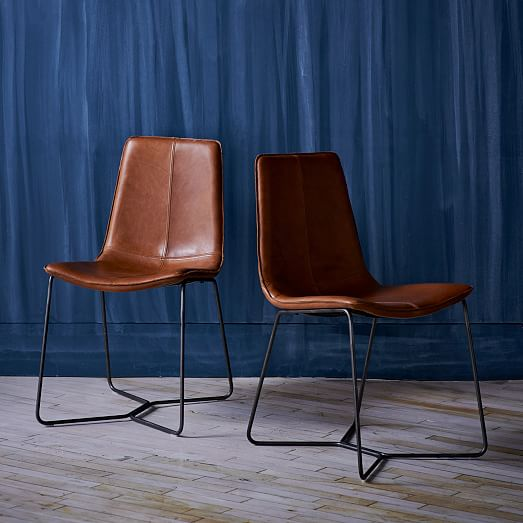 Lovable Tan Leather Dining Room Chairs Slope Leather Dining Chair West Elm