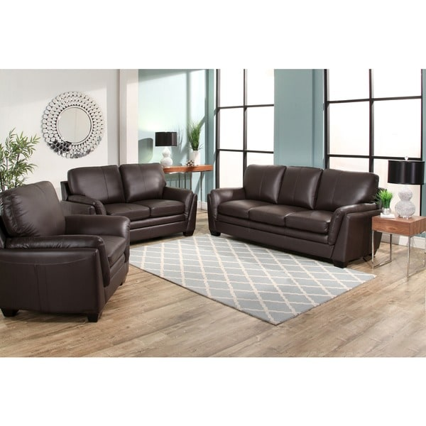 Lovable Three Piece Living Room Set Abson Bella Brown Top Grain Leather 3 Piece Living Room Set