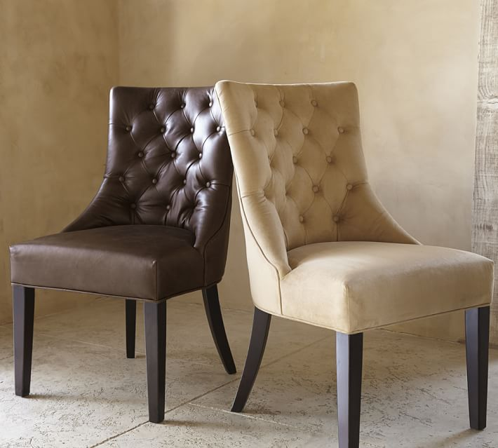 Lovable Tufted Leather Dining Room Chairs Hayes Tufted Leather Dining Side Chair Pottery Barn