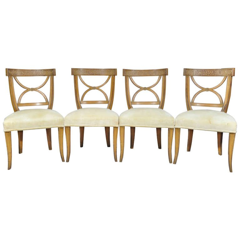 Lovable Vintage Dining Chairs 4 Vintage French Neoclassical Style Carved Wood Greek Key Dining