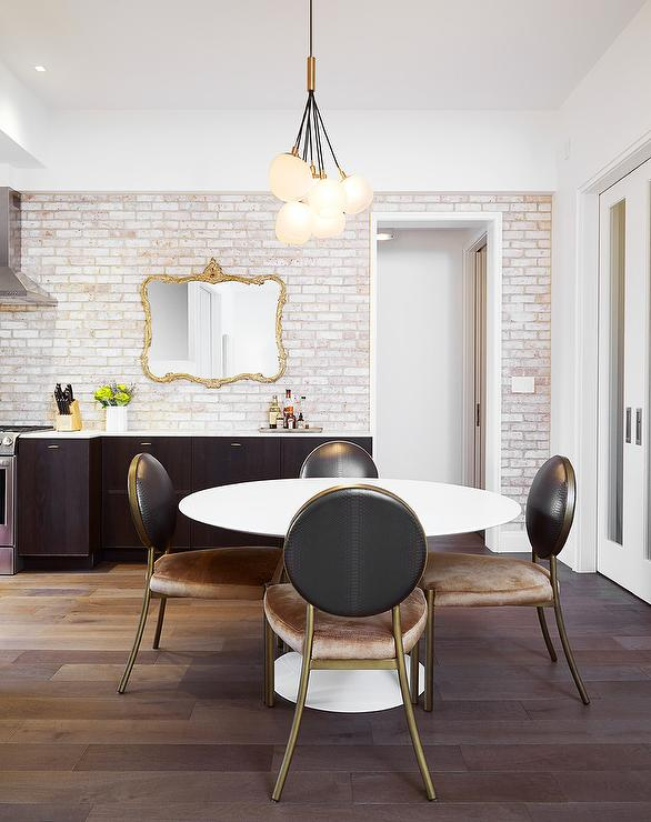 Lovable White And Brown Dining Chairs White Round Dining Table With Brown Round Back Leather Chairs