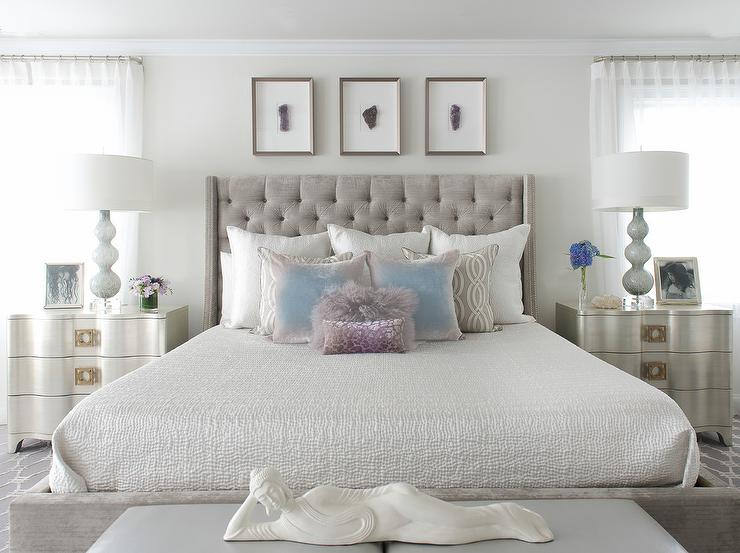 Lovable White And Silver Nightstand Gray Velvet Tufted Bed With Silver Nightstands Contemporary