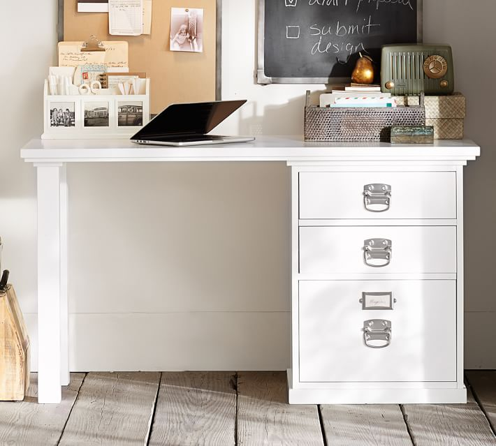 Lovable White Desk With File Cabinet Bedford Small Desk Pottery Barn
