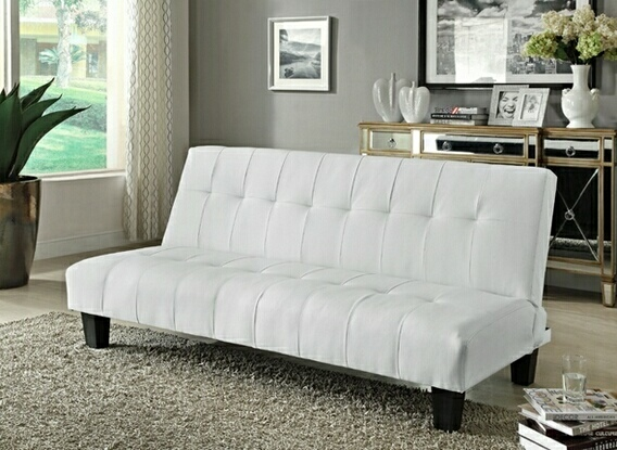 Lovable White Leather Futon Sofa White Finish Button Tufted