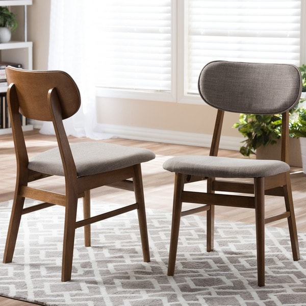 Lovable Wood And Fabric Dining Chairs Sacramento Mid Century Walnut And Grey Fabric Dining Chairs Set