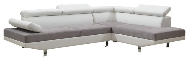 Nice 2 Piece Sectional Couch 2 Piece Modern Contemporary 2 Tone Faux Leather Sectional Sofa