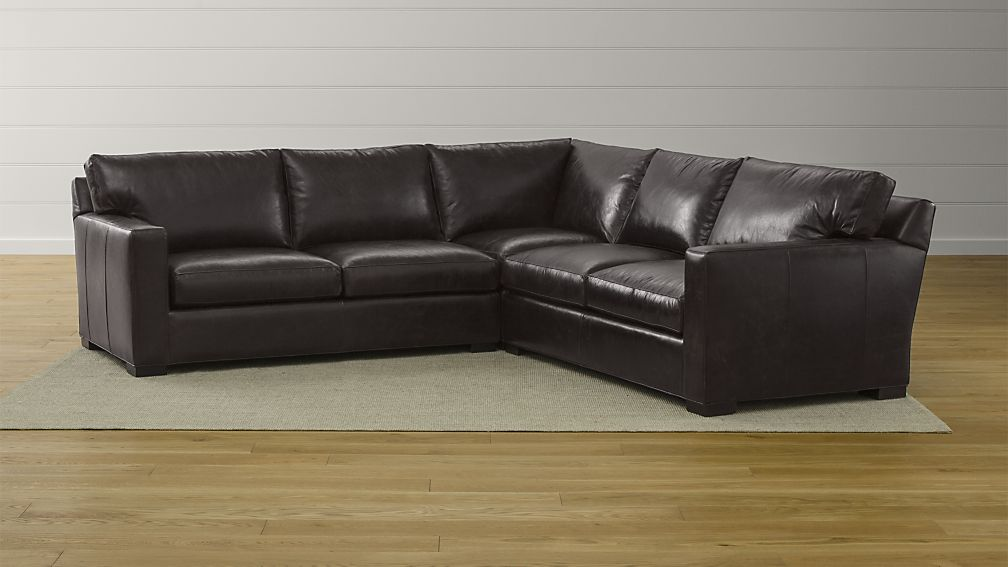 Nice 3 Piece Sectional Couch Axis Ii Brown 3 Piece Leather Sectional Sofa Crate And Barrel