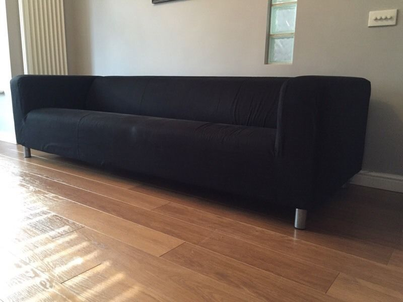 Nice 4 Seater Sofa Ikea 4 Seater Ikea Klippan Sofa With Removable Black Cover In