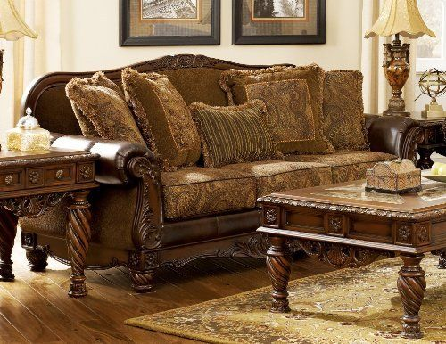 Nice Ashley Furniture Chenille Sofa Fresco Durablend Antique Traditional Stationary Loveseat With