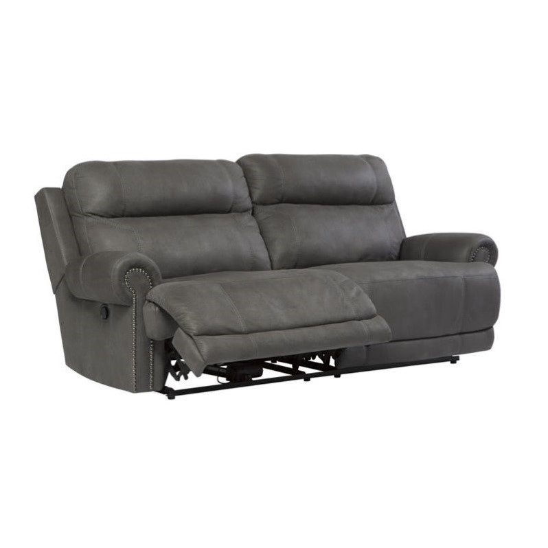 Nice Ashley Furniture Leather Recliners Ashley Furniture Austere Faux Leather Reclining Sofa In Gray 3840181