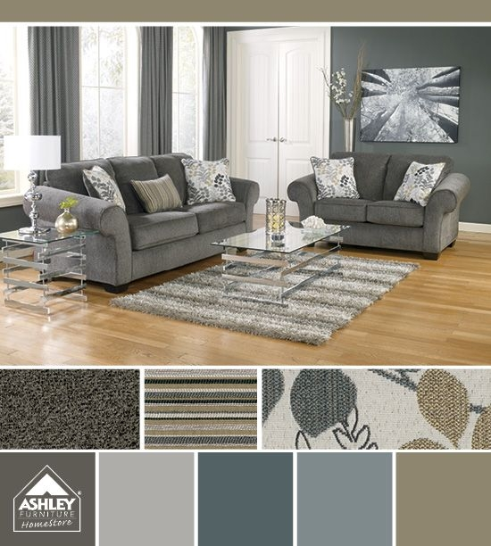 Nice Ashley Gray Leather Sofa Living Room Gray Earth Tones Im Getting This For My Family Loric
