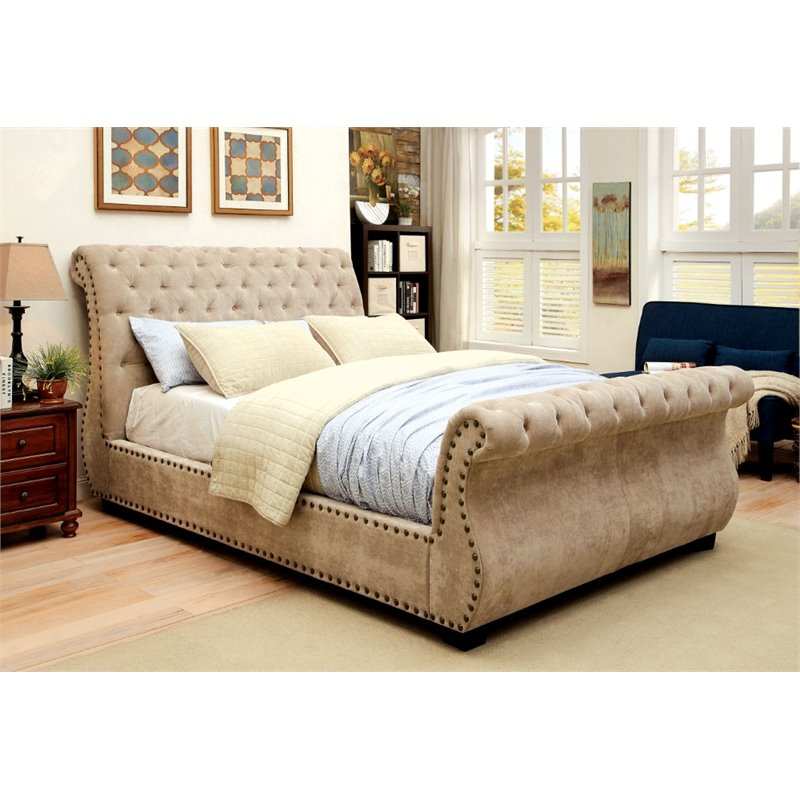 Nice California King Tufted Sleigh Bed Furniture Of America Moira California King Tufted Sleigh Bed In