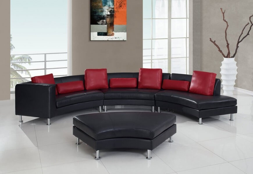 Nice Contemporary Black Leather Sofa 25 Contemporary Curved And Round Sectional Sofas