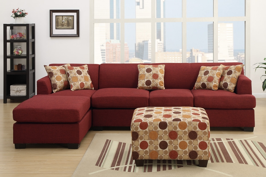Nice Corner Sectional With Chaise Casual 3 Piece Dark Red Sofa Sectional Chaise Matching Accent