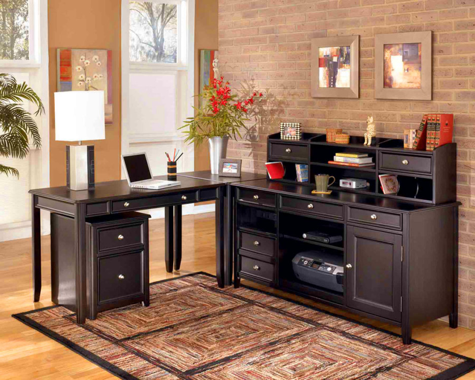 Nice Dark Wood Desks For Home Office Home Office Contemporary Home Office Design With Dark L Shaped