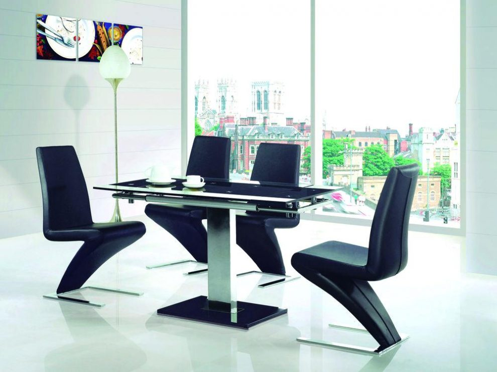 Nice Extending Glass Dining Table And Chairs Extendable Black Dining Table Mitventuresco