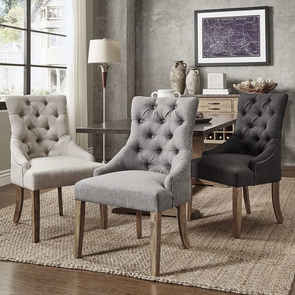 Nice Gray Dining Chairs Habit Solid Wood Tufted Parsons Dining Chairs Set Of 2 Free