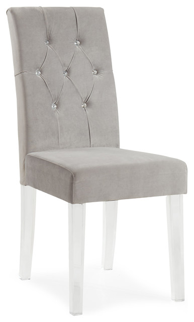 Nice Grey Dining Chairs With White Legs Dining Room Top Crystal Studded Velvet Side Chairs With Acrylic
