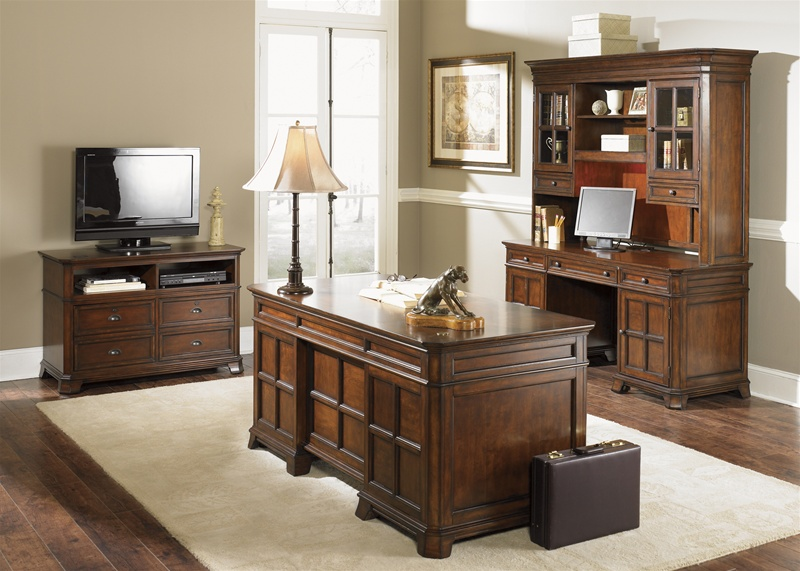 Nice Home Office Executive Desk Sets Remington Jr Executive 4 Piece Home Office Executive Set In Brown