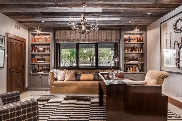 Nice Home Office Seating Country Home Office With Plank Ceiling Country Denlibraryoffice