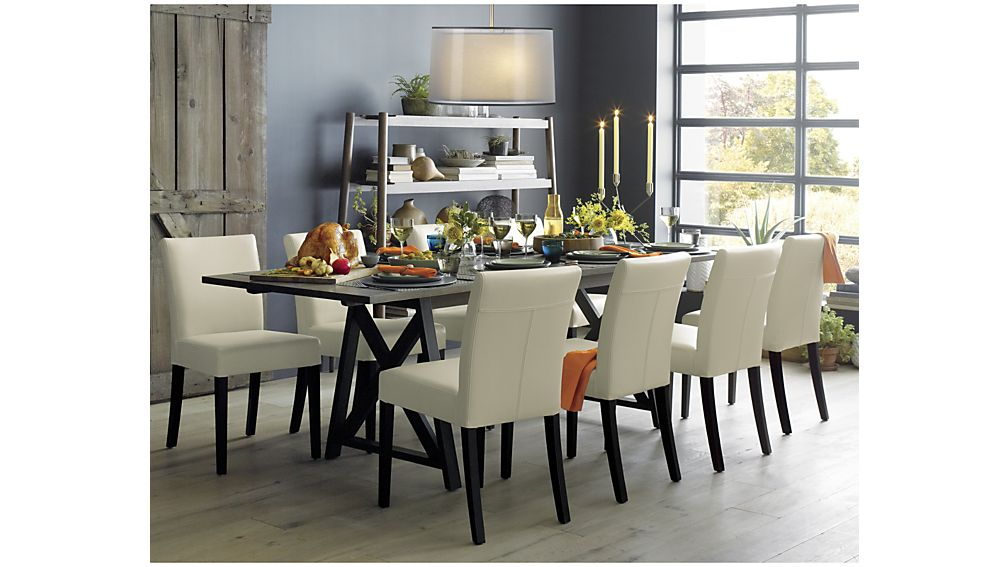 Nice Ivory Kitchen Chairs Lowe Ivory Leather Dining Chair Crate And Barrel