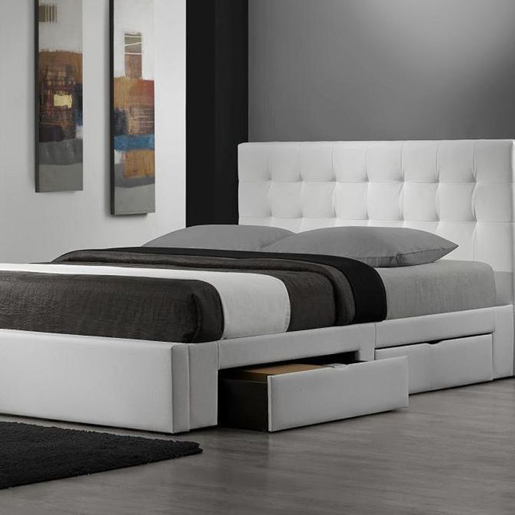 Nice King Size Mattress In A Box Queen Size Bed With White Leather Headboard And There Are Storage