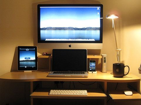 Nice Laptop And Monitor Desk Setup Cool Elevated Monitor Stand With Laptop Underneath And Keyboard In