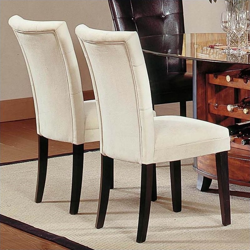 Nice Leather Parsons Chairs Dining Room Steve Silver Company Matinee Fabric Parson Dining Chair In Beige