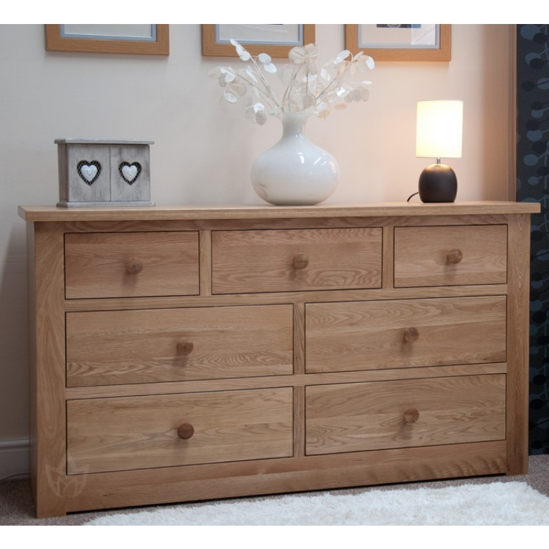Nice Long Chest Of Drawers Torino Solid Oak 3 4 Long Low Chest Furniture4yourhome