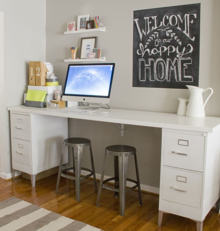 Nice Office Desk And File Cabinet Like The Homemade Desk File Cabinets With A Board Over Top Insta