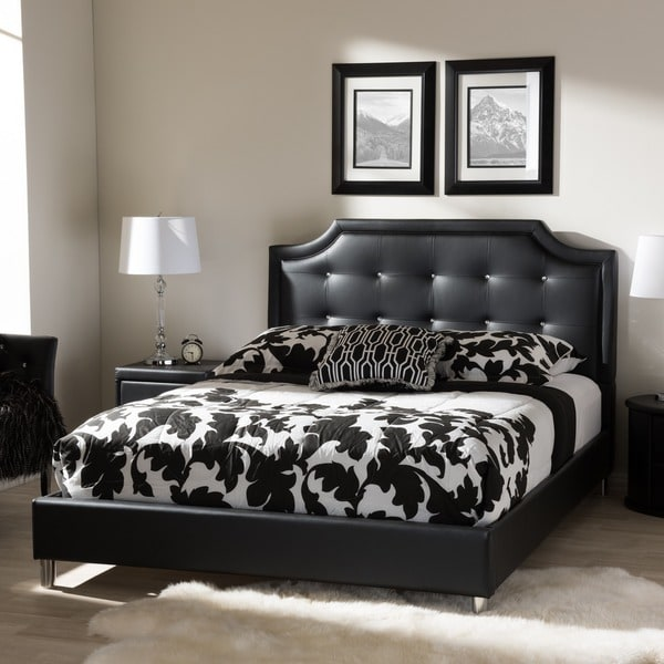 Nice Platform Bed With Upholstered Headboard Baxton Studio Carlotta Modern Black Faux Leather Platform Bed With
