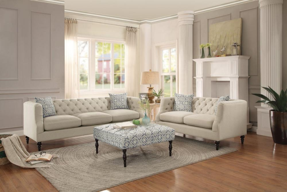 Nice Sofa Loveseat And Ottoman Set Radley 3pc Traditional Beige Fabric Tufted Sofa Loveseat Ottoman