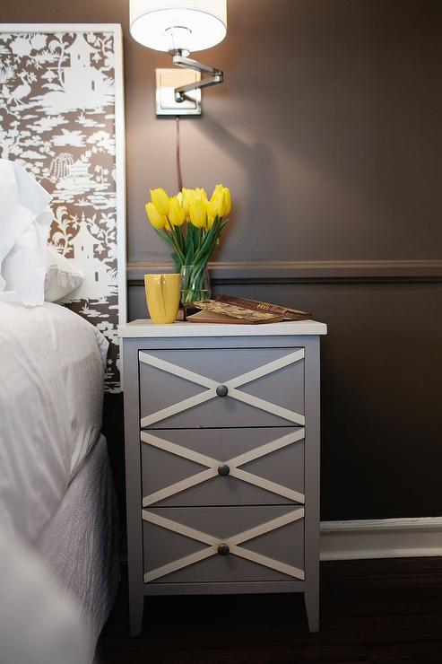 Nice White And Brown Nightstand Brown Nightstand With White Drawers Design Ideas