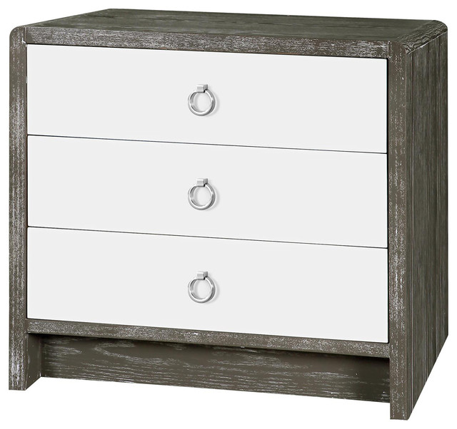 Nice White And Silver Nightstand Cale Modern Limed Gray White Lacquer Silver Nightstand Modern
