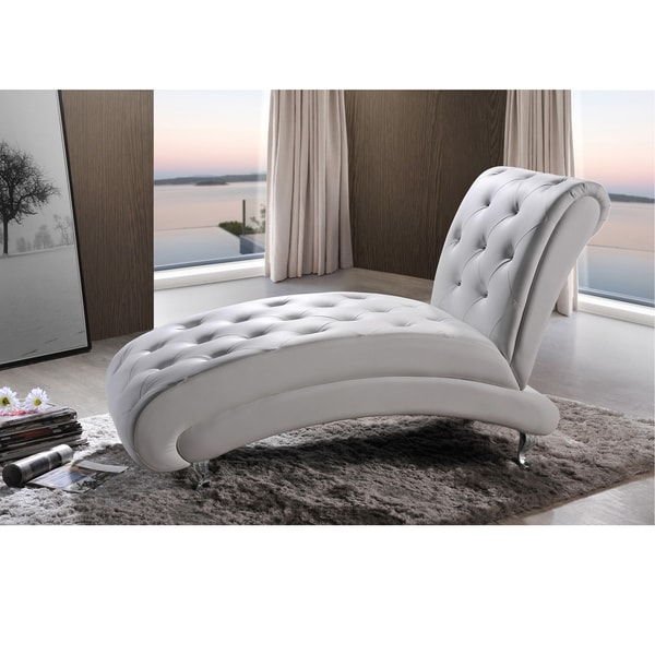 Nice White Leather Chaise Lounge Baxton Studio Pease Contemporary White Faux Leather Upholstered