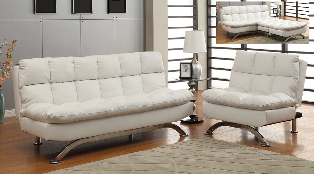 Nice White Leather Futon Sofa White Leatherette Plush Pillow Top Sofa Futon Chair Set