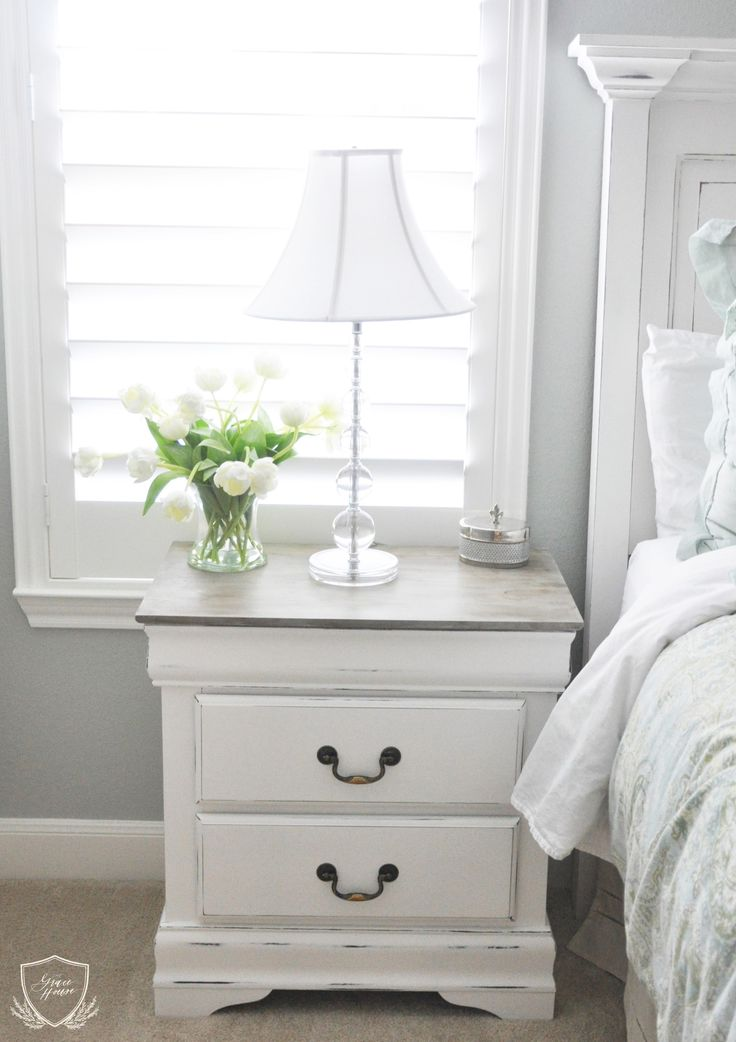 Nice White Nightstand With Wood Top Best 25 Refinished Nightstand Ideas On Pinterest Refurbished