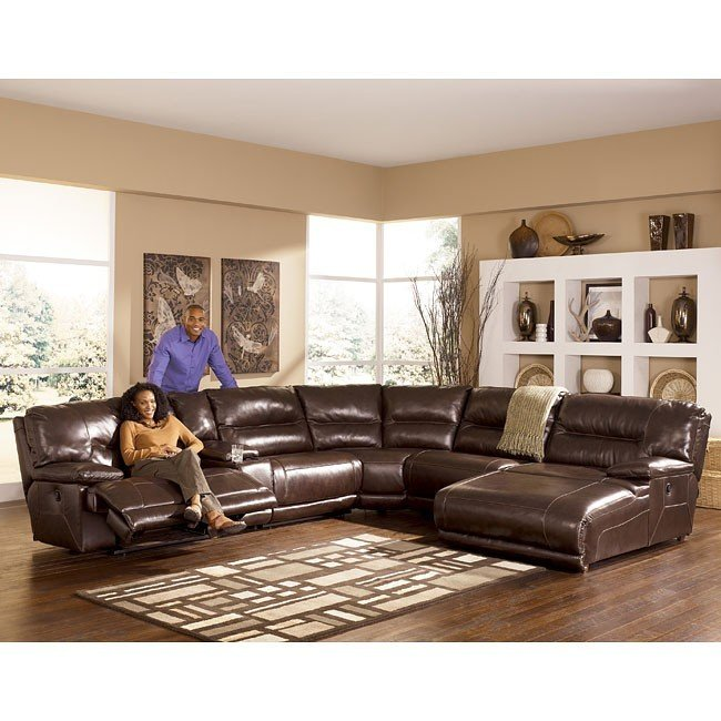 Stunning Ashley Furniture Reclining Sectional Exhilaration Chocolate Modular Reclining Sectional W Power