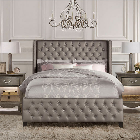 Stunning Bed Headboards And Footboards Set Queen Or King Size Memphis Bed Set With Rails In Diva Textured